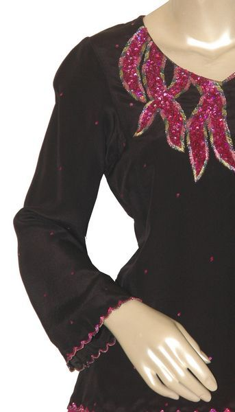 Double Layered Kurti Georgette With Sequins. - Click Image to Close