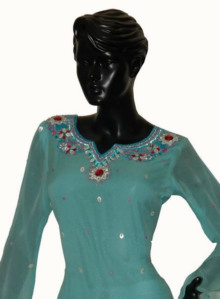 Chiffon Kurti With Embroidery Of Shells, Stones & Sequins. - Click Image to Close