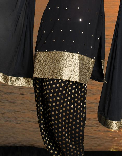 Embroidered Salwar Kameez With Brocade - Click Image to Close