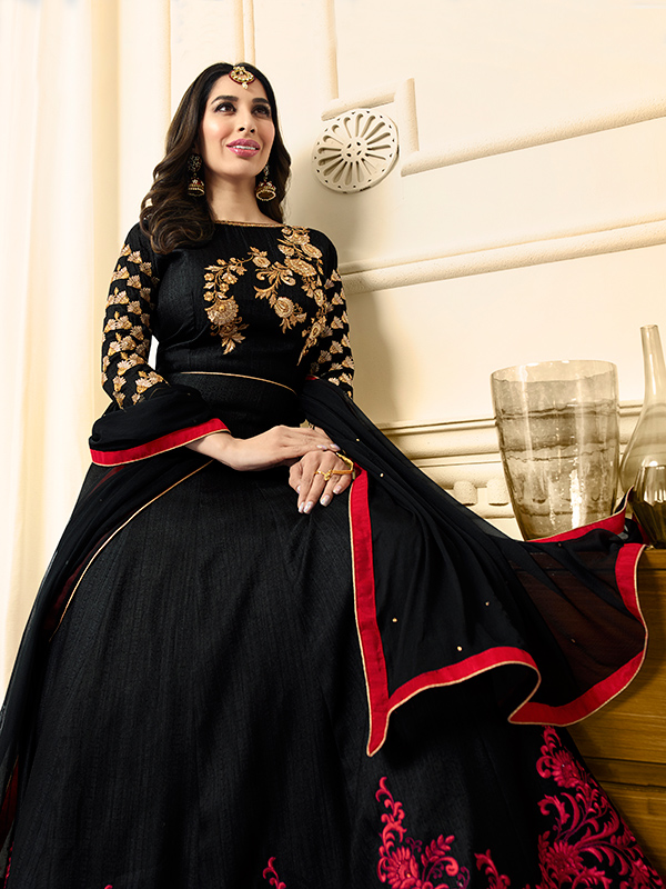 Black, Red Anarkali Suit - Click Image to Close