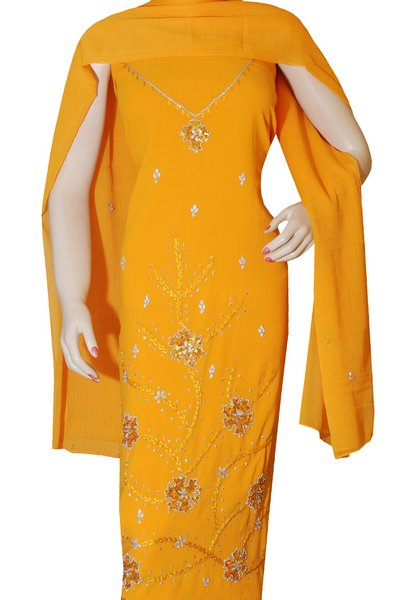 Salwar kameez with ribbon work embroidery online