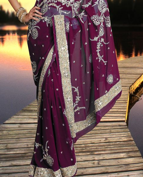 Georgette Sari With Sequins/ Stones Embroidery. - Click Image to Close