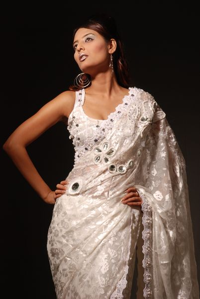 Ready To Wear Designer Sari Embroidered With Lace, Pearls & Ston